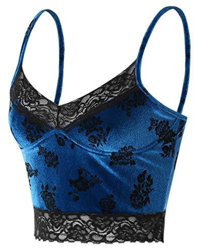 Womens Sexy Lace Corset Crop Top Y2k Spaghetti Straps Tank Top Summer Little E Girl Flower Print Camis Shirt Streetwear (Royal Blue, M)