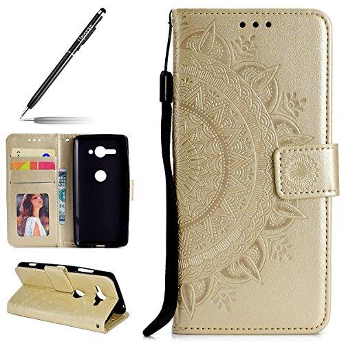 Uposao Housse Etui Sony Xperia XZ2 Compact Coque en PU, Flip Cover Case Bumper Coque de Protection Pochette Portefeuille en Cuir à Rabat Clapet étui Mandala Ultra Slim Coque pour Sony XZ2 Compact,Doré
