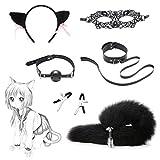 Collar de orejas de zorro con clip de cola sintético, para actuar, Halloween, juguetes, juego de 6 piezas, color: negro
