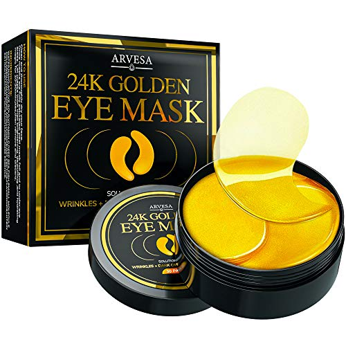 Under Eye Collagen Patches - 24K Gold Eye Mask Anti-Aging Hyaluronic Acid - Under Eye Mask for Reducing Dark Circles & Puffy Eyes (30 Pairs) - Under Eye Bags Treatment (Bright Gold)