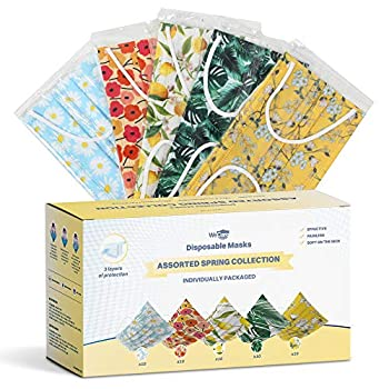 WeCare Disposable Face Mask Individually Wrapped - 50 Pack Spring Print Masks - 3 Ply