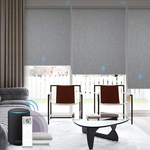 Graywind Motorized Roller Shades 100% Blackout Window Blinds Remote Voice Control Thermal Insulated Triple Weaved Fabric with Valance for Smart Home Office, Customized Size, Light Grey