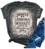 Country Music Funny Bleached T Shirt for Women Smooth As Tennessee Whiskey Sweet As Strawberry Wine Cute Bleach Tee Tops (Dark Grey, 2X-Large)