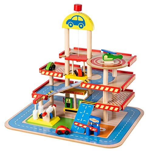 Mamabrum 3 Etagen Parkhaus Aus Holz Mit Lift - Flughafen mit Parkhaus und Garage | 14 Zubehör Enthalten Ab 3 bis zu 8 Jahren