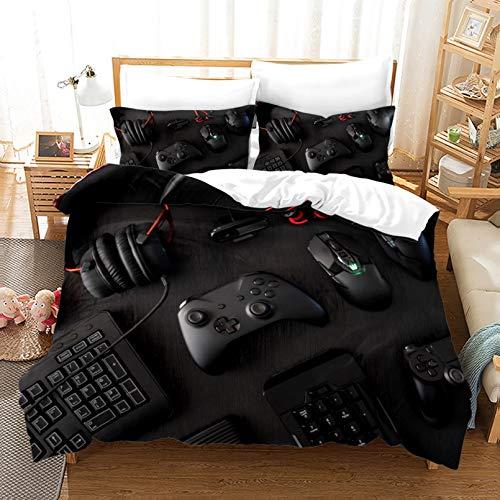 DAKEAI Creative Gamer Gamepad Housse de Couette et taie d'oreiller,Mikrofaser,Contrôleur de Jeu Vidéo Parure de Lit 2/3 Pièces,pour garçon et Adolescent (10,200 * 200cm)