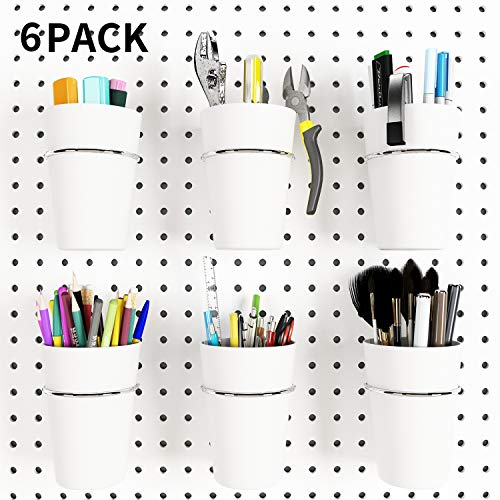 6 Sets Pegboard Hooks with Pegboard Cups, Ring Style Pegboard Bins with Rings, Pegboard Cup Holder Accessories for Organizing Storage (White)