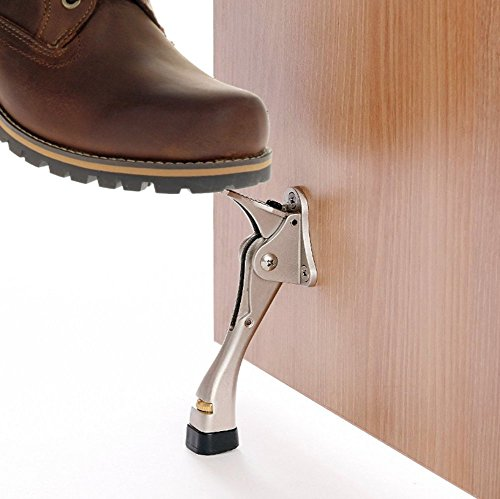 4 Inch Premium Quality Finish Height-Adjustable Rubber Foot For Long and Stable Use - Chrome Easy-Step Door Stops No Bending Down : Hands-Free Easy Installation No Scuffed Shoes Tap with Foot for Instant Release No More Lost Doorstops
