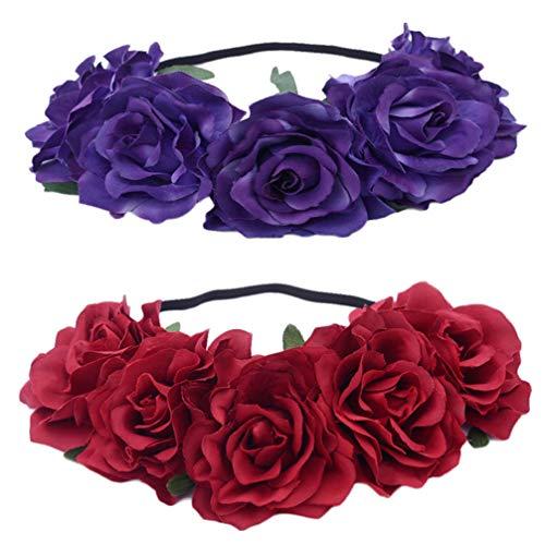 Lurrose 2 stücke rose blume krone stirnband chrismas blume stirnband für frauen damen weihnachten hochzeit festival party foto requisiten (rot + lila)