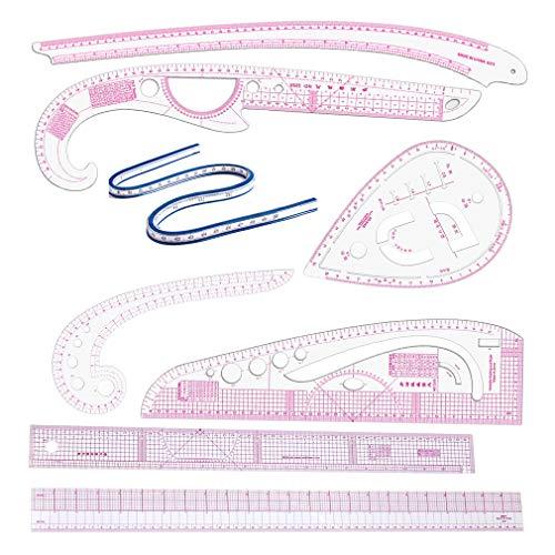 Tiazza 8 estilos de plástico de la curva francesa plantilla regla de la moda de palo de diseño costura en forma curva medida regla de artesanía conjunto de herramientas de costura para bricola