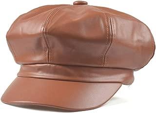 2020 Women Beret Cap Retro Leather Painter Hat Octagonal Hat Handsome Wild Pumpkin Hat Solid Color Fashion Casual Soft Lighting New Adjustable Beret Women (Color : Orange, Size : 56-58CM)