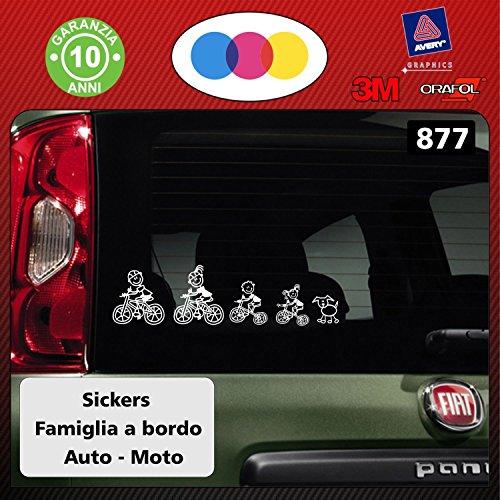 Kit completo de pegatinas con diseño de familia a bordo, de color blanco, para el cristal del coche, código 877