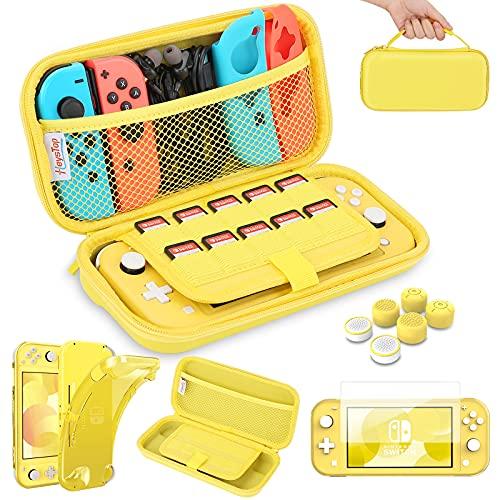 HEYSTOP Funda para Nintendo Switch Lite con Carcasa Switch Lite + Protector de Pantalla + Funda Tarjeta de Juegos + Tapas de Agarre para el Pulgar - Amarillo
