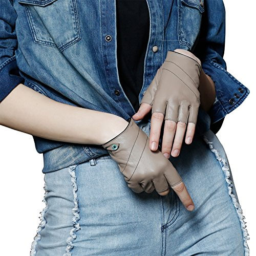 Fioretto Women Driving Leather Gloves Winter Fingerless Half Gloves Motorcycle (Stone2, 8)