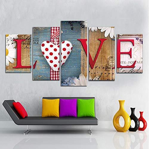 5 panel muur 5 stuk HD print schilderij liefde woorden modern in de kamer van de minnaar decoratieve schilderijen op canvas kunst aan de muur voor home decoraties muur,Without frame,30x40/60/80cm