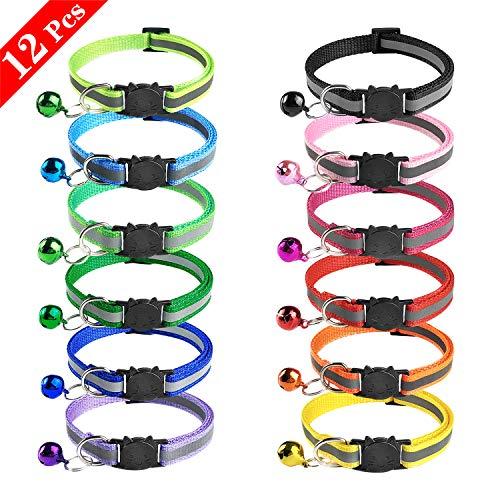 DESON 12 Stück Katzenhalsband Reflektierendes mit Sicherheitsverschluss Cat Collar mit Glöckchen Verstellbar Katzenhalsbänder für Katzen und kleine Hunde