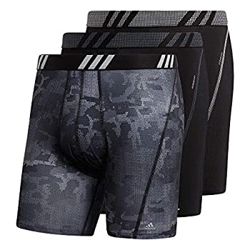 adidas Men s Sport Performance Mesh Boxer Brief Underwear  3-Pack  Conscript Black/Black/Clear Onix Grey Medium