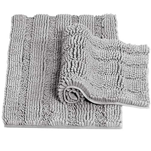"""Dove Bath Mats for Bathroom Non Slip Ultra Thick and Soft Chenille Plush Striped Floor Mats Bath Rugs Set, Microfiber Door Mats for Living Room/Kitchen (20"""" x 32""""/17"""" x 24""""-Pack 2)"""