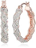 14k Rose Gold Plated Bronze Diamond Accent Two Tone Twisted Hoop Earrings