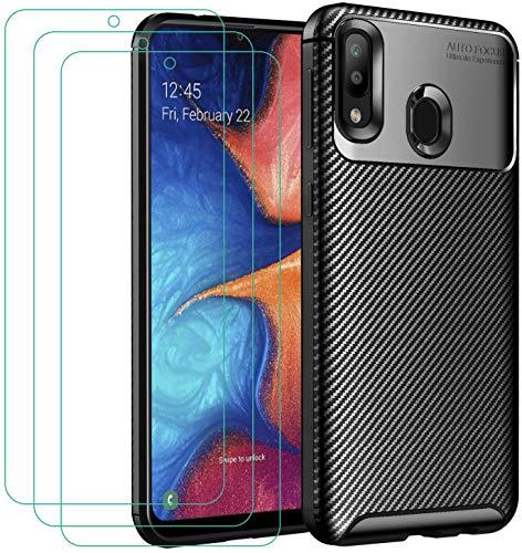 iVoler Cover per Samsung Galaxy A20e / A20 e + 3 Pezzi Pellicola Vetro Temperato, Fibra di Carbonio Custodia Protezione in Morbida Silicone TPU Anti-Graffio e Antiurto Protettiva Case - Nero