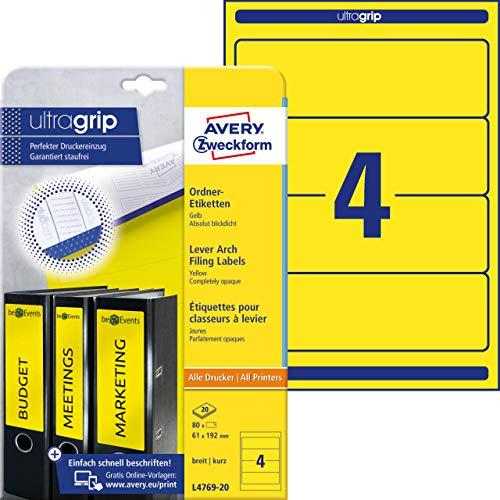 Preisvergleich Produktbild AVERY Zweckform L4769-20 Ordnerrücken Etiketten (80 Rückenschilder mit ultragrip,  61x192mm auf A4,  breit / kurz,  selbstklebend,  absolut blickdicht,  bedruckbare Ordneretiketten) 20 Blatt