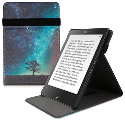 kwmobile Hülle kompatibel mit Tolino Epos - Schlaufe Ständer - e-Reader Schutzhülle - Galaxie Baum Wiese Blau Grau Schwarz
