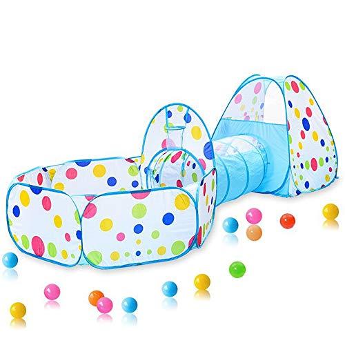 Juego De Túnel Y Tienda Emergente para Niños 3 En 1,para Niños, Niñas, Bebés Y Niños Pequeños Ball Pit Pop Up Playhouse Tent con Bolsa De Almacenamiento con Cremallera,Azul
