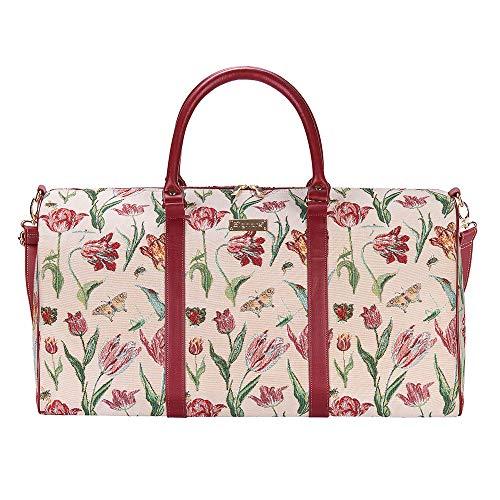 Signare Gobelin-Gepäcktasche für Reisen und Sport/große Reisetasche für Damen Sporttasche Damen mit Blumenmustern (Tulpen)