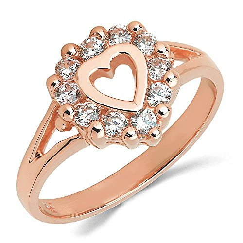 DS Jewels Anillo de compromiso de plata con circonita cúbica de corte redondo chapado en oro rosa de 14 quilates, Piedra, Cubic Zirconia,