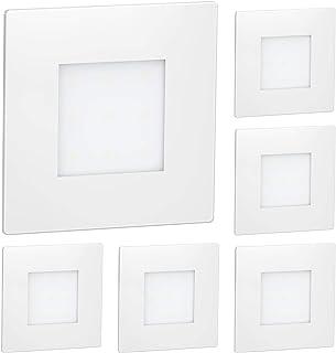 ledscom.de La luz LED de la escalera FEX Luz de pared empotrada, blanca, angular, 8,5x8,5cm, 230V, blanco cálido, 6 piezas.