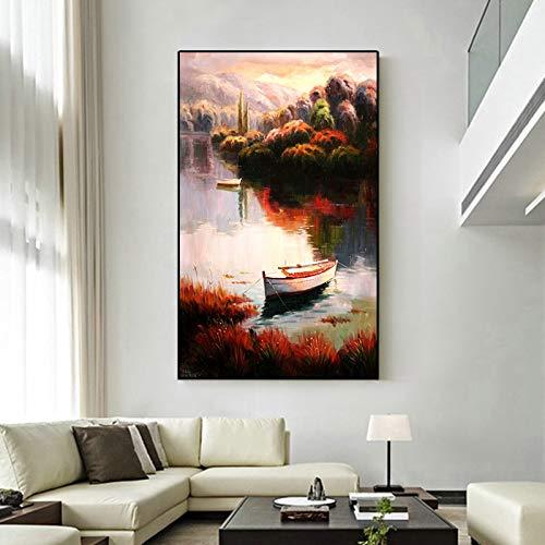 tzxdbh UnFrameless Kleinstad- en Landleven in Europa olieverfschilderij muurkunst landschap poster en afdrukken wooncultuur voor woonkamer 50X65 cm ongeframed.