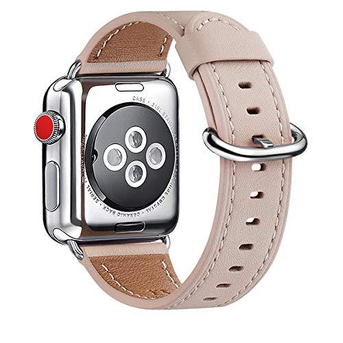 WFEAGL Kompatibel für Apple Watch Armband 38mm 40mm 42mm 44mm Leder, Lederband Ersatzband mit Edelstahl-Verschluss Kompatibel für Serie 5/4/3/2/1(38mm 40mm, Rosa Sand+Silber Adapter)