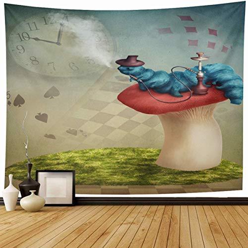Tapiz Colgante de pared Abstracto Hada azul Cachimba Fumar Oruga Alicia País de las maravillas Fantasía Marrón Cuento vintage Hongo Decoración del hogar Tapices Dormitorio decorativo Salón Dormitorio