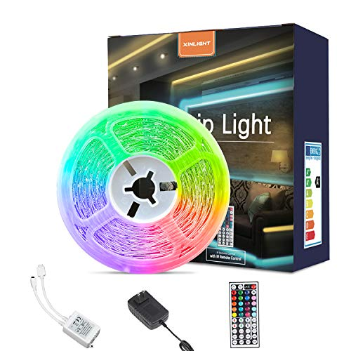 LED Strip Lights 98ft RGB Color Changing Light Strip Kit with Remote and Control Box for RoomBedroom TV Cupboard Decoration Bright 5050 LEDs Easy Installation