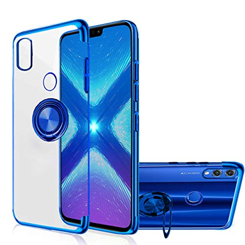 Huawei Y9 Prime 2019 Case, Honor 9X Case [360° Ring Stand] Crystal Clear [Electroplated Edge] Silicone Thin Cover Compatible with Huawei Y9 Prime 2019 / Honor 9X (Blue, Y9 Prime 2019)