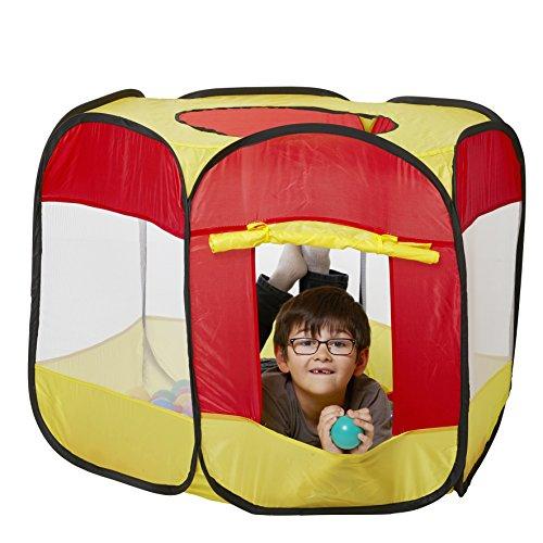 Europhant Kinderspielzelt Bällebad Pop Up Spielzelt + 100 Bälle + Tasche für drinnen und draußen (Spielzelt mit 100 Bällen)