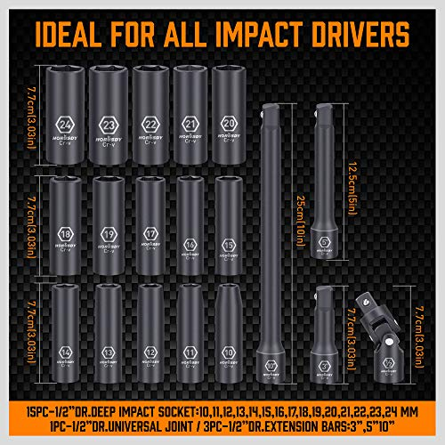 HORUSDY 1/2-Inch Drive Deep Impact Socket Set, 19-Piece 10mm - 24mm 6-Point Metric Drive Impact Sockets Set