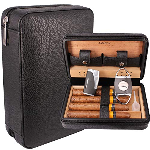 AMANCY Classic Black Leather 4 Cigar Travel Case Humidor with Cutter and Lighter Great Cigar Accessory Gift Set