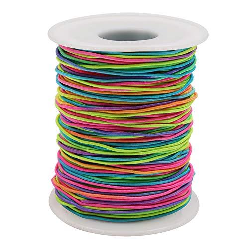 Elastische Schnur Perlenschnur (100 m) - Regenbogen Farbe Stretch Faden Stoff Handwerk Schnur mit 1mm Durchmesser fur DIY Halskette, Armband, Handwerk, Haargummis, Kostum Basteln, Schlusselanhanger