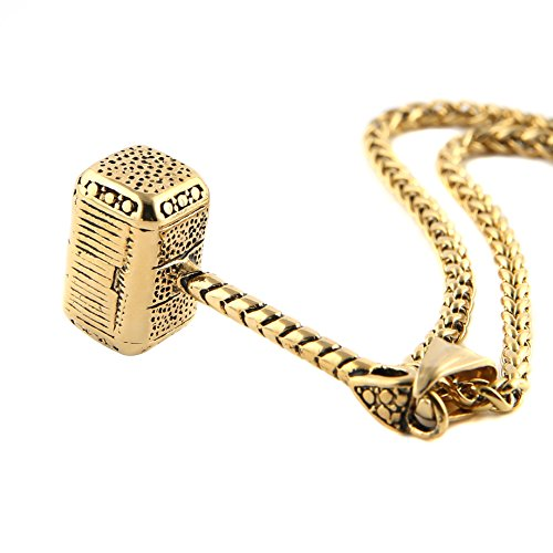 HZMAN Thor Hammer Stainless Steel Necklace for Men and Women Hammer Pendant Necklace 22+2 Inch Chain, Gold