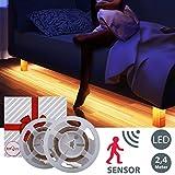B.K Licht lot de 2 rubans LED, 2x120cm, fonction veilleuse et détecteur de mouvements, luminaire intérieur, guirlande lumineuse, blanc chaud, IP20, luminaire chambre bébé enfant