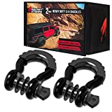 Rocket Straps | (2 ¾' D Ring Shackles (57,000lbs) Break Strength | (2) Shackle Isolators & Washer Kit | ⅞ Pin | Use Our D Rings with Tow Strap, Recovery Rope, Snatch Block, Jeep & Towing Accessories