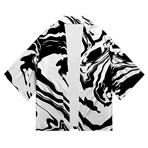 CPHGG Retro Maglietta con Stampa 3D Kimono Maschile in Stile Cinese con Maniche a Sette Punti Cardigan Protezione Solare Abbigliamento in Stile Giapponese Mantello