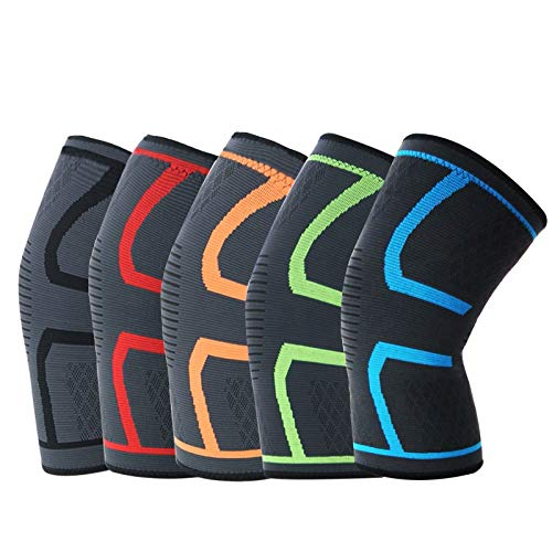 PENDO Knee Brace - 2 Compression Sleeves for Sports, Running, Weightlifting, Powerlifting, Exercise - Helps Soothe Muscle Pain - Elastic, Breathable Workout Accessories - Support Gear for Men & Women (Green, Medium)