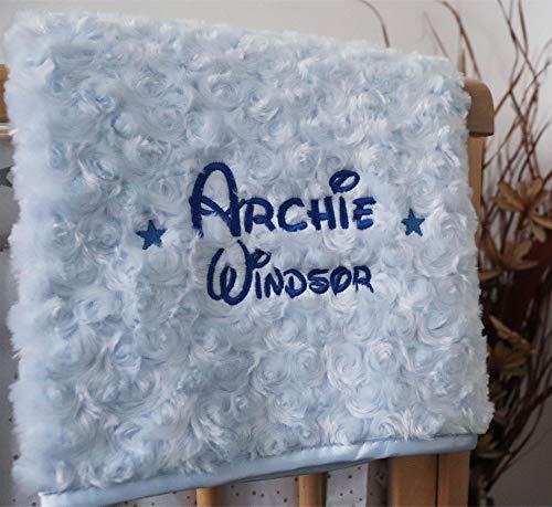 Personalised Baby Blanket Luxury Blue Rosebud Disney Font Name P