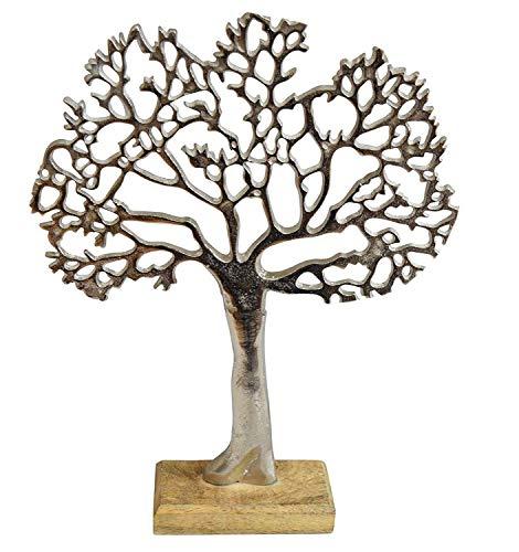 Großer Baum aus Metall auf Holz Sockel 37x30cm Aufsteller Lebensbaum Fensterdeko