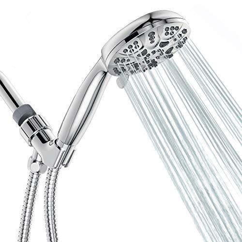 "Egretshower Handheld Shower Head High Pressure 6-Setting Spray Detachable 4.3"" Hand Held Rain Showerhead with long Stainless Steel Hose and Adjustable Bracket - Polished Chrome"