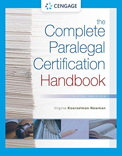 Compare Textbook Prices for The Complete Paralegal Certification Handbook MindTap Course List 5 Edition ISBN 9781337798877 by Newman, Virginia Koerselman