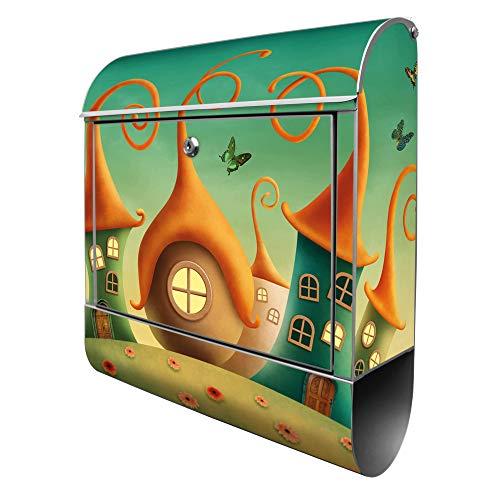 Banjado Design Briefkasten mit Motiv Zwergenhausen | Stahl pulverbeschichtet mit Zeitungsrolle | Größe 39x47x14cm, 2 Schlüssel, A4 Einwurf, inkl. Montagematerial