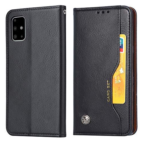 Eabhulie Galaxy A51 Funda, Carcasa Libro de Cuero con Tapa Billetera Cartera Ranuras para Tarjetas con Función de Soporte para Samsung Galaxy A51 Negro