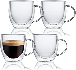 KitchenTour Insulated Coffee Mug 8 oz- Double Wall Glass Coffee Cup with Handle Set of 4 - Clear Glass Drinkware for Espre...